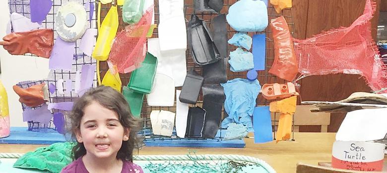 "Beals Elementary ""trash sculptures"" on exhibit"